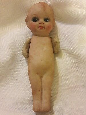 Antique Bisque/Porcelien BABY Kewpie Style DOLL with jointed arms Japan
