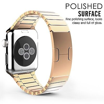 ROSE GOLD STEEL SHINE Wristband Band Strap Bracelet For iWatch 38MM APPLE WATCH