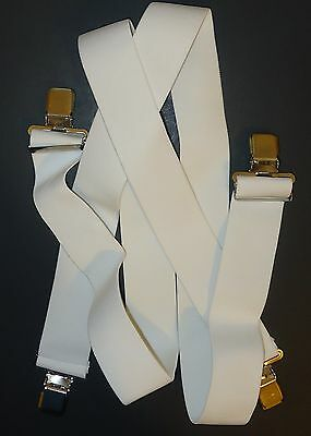 "2""  Mens Plain White Clip On Suspenders. (No Patch 48"", Elastic, SF, Made in USA"