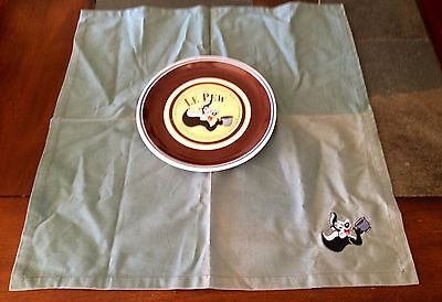"Pepe Le Pew ""Cafe Au Le Pew Plate and Napkin 1996"