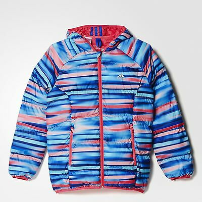 Size 9/10 Years Old - Adidas Padded Aop Girls Hooded Bubble Jacket - Multi