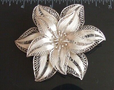 Silver 925 filigree brooch floral daisy dandelion large flower pin