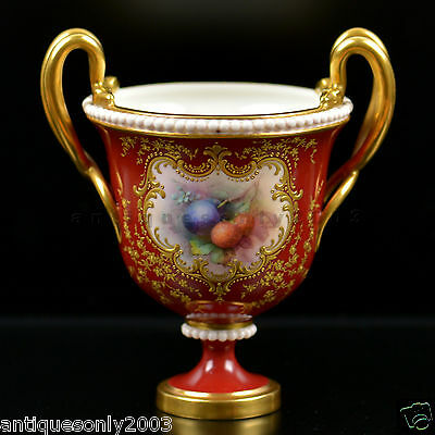 RARE ROYAL WORCESTER Fruit Hand Painted Twin SERPENT HANDLED Urn Vase by CHIVERS