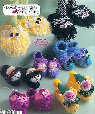 Silly Animal Slippers Crochet PATTERNS Child Adult Panda Bunny Lion