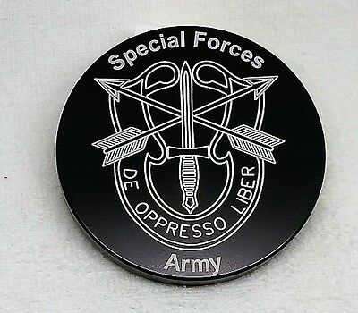 "U.S. Army, Special Forces, Billet Aluminum Trailer Hitch plug Cover, 5"" Round"