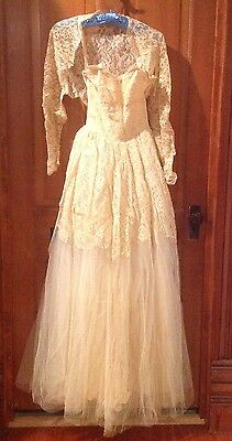 Vintage Lace Satin And Netting Strapless Wedding Gown With Lace Jacket
