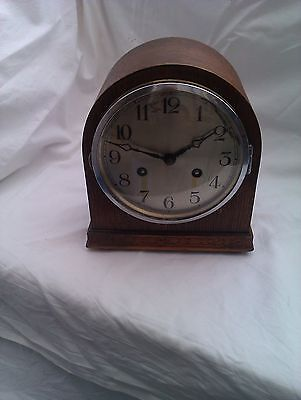 An Old Domed Top Wooden Mantle Clock In  Full Working Order