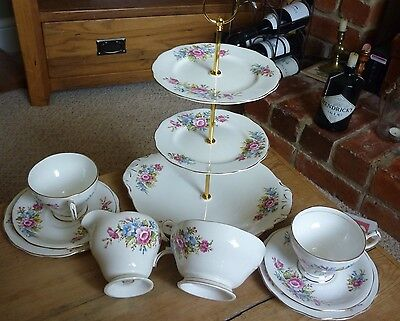 Queen Anne Floral China Tea For Two. 9 Pieces.