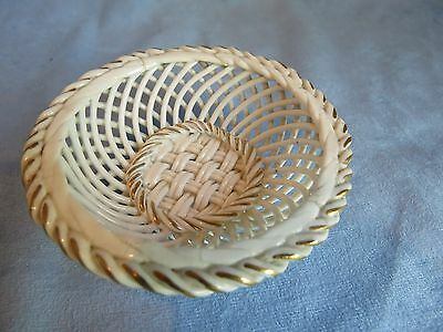 Vintage Small Basket Weave Lattice Dish with Gold Highlights, Germany