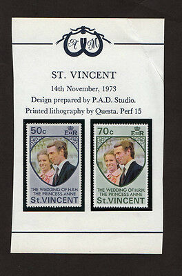 1973 - St Vincent - Wedding Of Hrh Princes Anne Two Stamps - Mint Never Hinged
