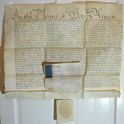 Antique Document Will of Richard Cowpor 1714 Seal Archbishop of Canterbury