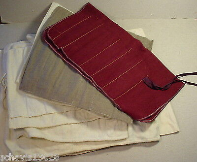 Sterling Silver And Plate Silverwre Cloth Wrap Storage Holder LOT Vintage Fabric
