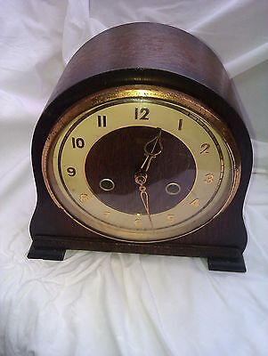 An Old Small Chiming Mantle Clock In Full Working Order