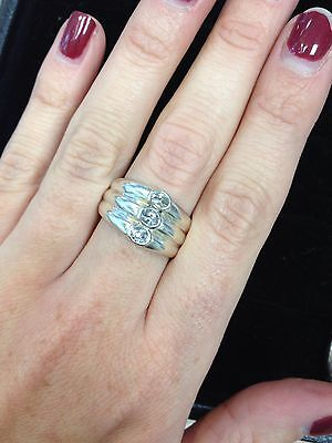 Silver Cubic Zirconia CZ Band Ring Size Q