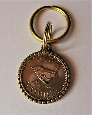 Jenny Wren Farthing with Hands of Friendship brass Pendant or keyring