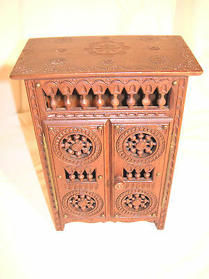 Antique French Breton Miniature Wood Carved Wardrobe Armoire Furniture