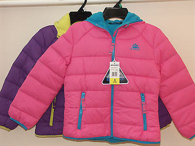 bnwt Snozu Girls' Fleece Lined Down Jacket - Pink/Turquiose or purple/lime
