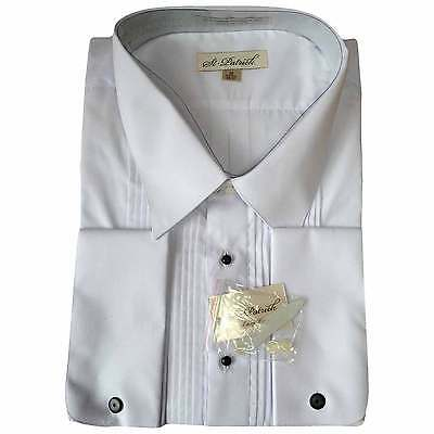 Men's Vintage White Pleated Tuxedo Shirt French Cuffs Tall (20, 36/37) NEW