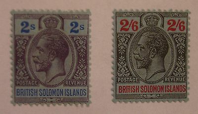 Solomon Islands: 1922-31 SG49 2s purple & blue; SG50 2s6d black & red. Fine mint
