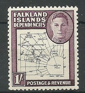 Falkland Is Deps - GVI thin map 1/- dot on T - SG16a - LMM - Cat £55