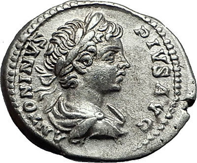 CARACALLA 201AD Silver Authentic Ancient Roman Coin Trophy Tropaion Rare  i58001