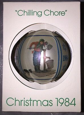 Norman Rockwell Ornament Chilling Chore Christmas 1984 Vintage Schmid
