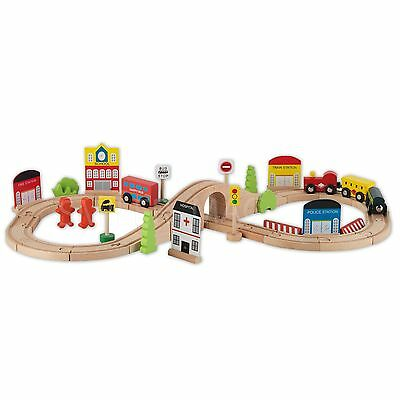 CHAD VALLEY WOODEN Table and 90 Piece Train Set - 3+ Years - £50.00 ...