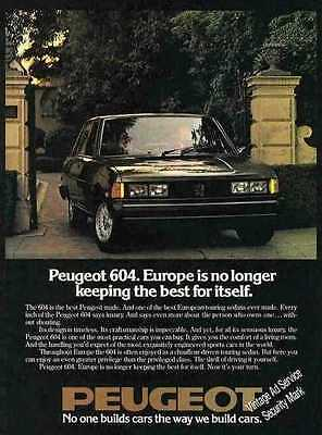 "1978 Peugeot 604 ""Europe no longer keeping the best"" Ad"