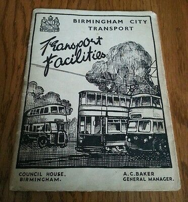 Old Bus Tram map/timetable. ..Birmingham. ..possibly 1930s?..