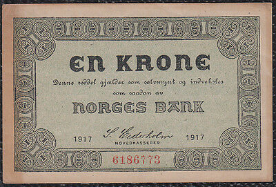 1 Krone From Norway 1917 Xf+