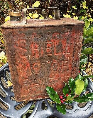 shell oil can container old vintage with brass cap man cave lamp project