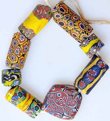 8 Venetian Millefiori Glass Trade Beads - African Trade Beads