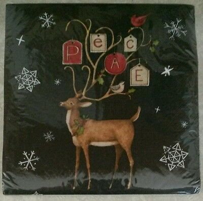 "20 ct Paper Party Lunch Napkins 13"" ~ Christmas Reindeer Snowflakes Peace"