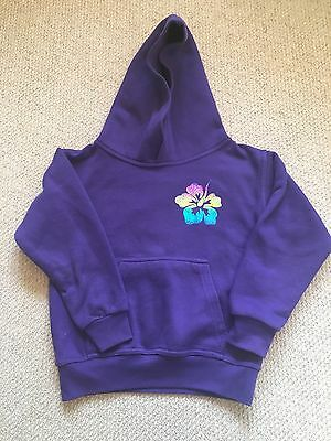 Girls Purple Hoodie with Hibiscus Flower Print Personalised with 'Keira'  7-8yrs