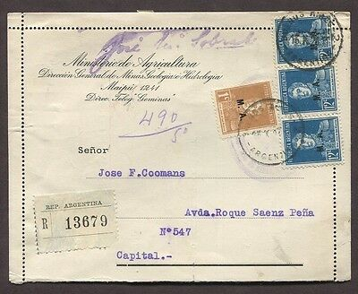Argentina 1926 M.a. Minister Of Agriculture Issues On Official Letter Card Maipu
