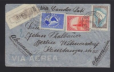 Argentina 1940 Wwii Censored Registered Condor Lati Airmail Cover To Germany
