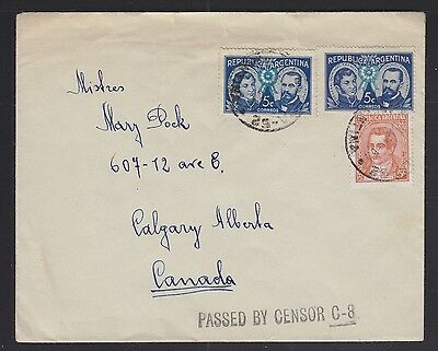 Argentina 1941 Wwii Censored Cover Buenos Aires To Calgary Alberta Canada