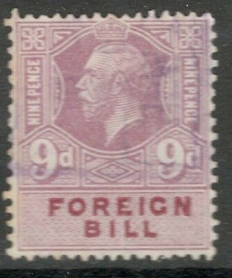 King George V - 9d Purple - Foreign Bill - Good Used