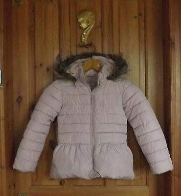 NEXT girl's hooded  padded pale pink jacket Age 5-6