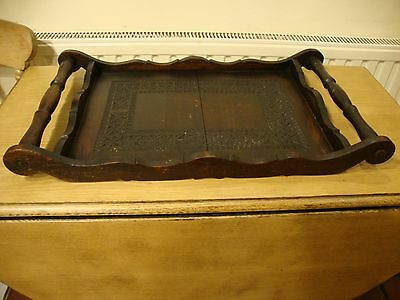 Antique Hardwood( fine grained,I expect mahogany) Butlers Tray.