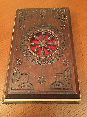 Vintage Treen Wooden Telephone Book Note Pad Holder With Metal Design