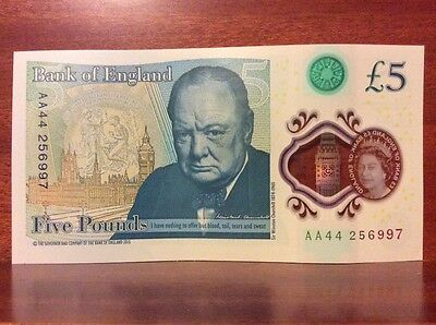 £5 polymer fiver serial number AA44