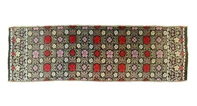 table runner woven tapestry cloth sideboard  black red silver Victorian antique