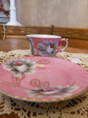Orchid Color Exotic Gray Flower Cup & Saucer Set
