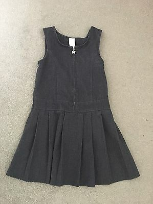 Girls Grey School Pinafore Dress Age 6-7 Years