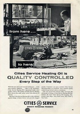 "1960 Cities Service Heating Oil ""Is Quality Controlled"" Collectible Print Ad"