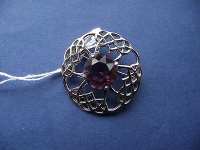 Faux Amethyst Brooch in a Silver Coloured Frame
