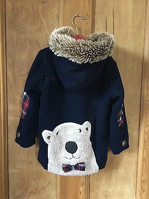 NEXT Girls Navy Blue Polar Bear Duffle Coat Christmas 4-5
