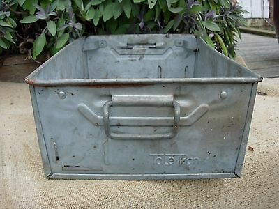 Vintage Weathered Industrial Galvanised Metal Trough Tray Garden  Planter (894)