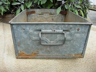 Vintage Weathered Industrial Galvanised Metal Trough Tray Garden  Planter (893)